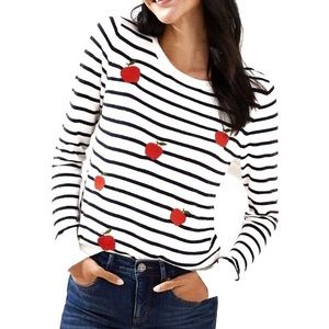 LOFT NWT Apple embroidered striped sweater